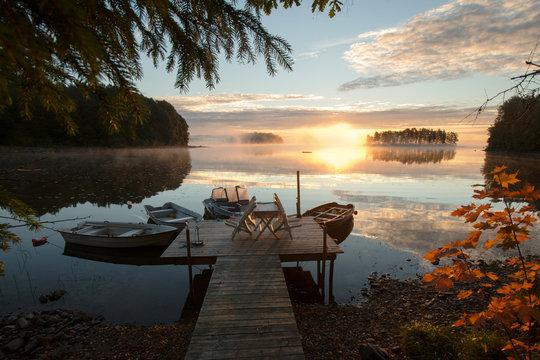 Nebelmorgen am See Örken Westufer, Smaland,Schweden
