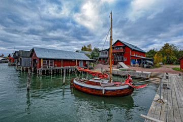 Boats in Maritime Quarter in Mariehamn, Aland islands