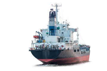 cargo ship isolated on white background with clipping path