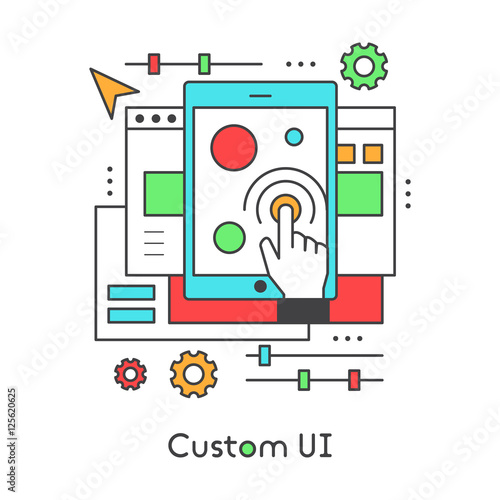 UI UX Custom Design Developing User Experience Interface Settings Modern Vector Icon Style