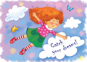 A cute freckled girl with red hair is flying in the sky among butterflies with the laces of her sneakers untied. Illustration for children. Greeting card. Cartoon characters.