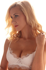 woman with perfect tits in white lingerie