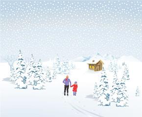 Vater mit Kind in Winterlandschaft mit Schneefall