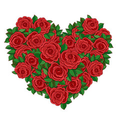 Wreath in the shape of a heart of red roses.