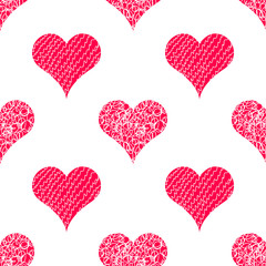 Heart. Vector seamless pattern background. Hand drawn love