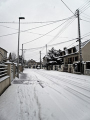 a street full of snow aroud christmas