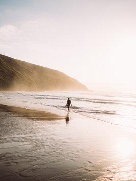 Man walking along coastline.