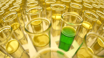 3D rendered yellow laboratory test tubes with green positive results
