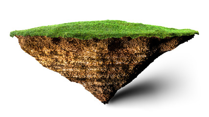 Wall Mural - soil and grass island 3D illustration