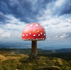 Abstract Red Mushroom on Tree Trunk with Dramatic Blue Sky and Mountains