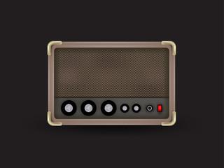 realistic graphic design of old antique radio. realistic illustration of an old radio receiver of the last century, vector design of vintage speaker, music design concept