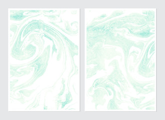 Set of hand drawn watercolor marble textures.