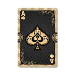 Ace of spades. Playing card vintage style. Casino and Poker. Ace of spades as a screen saver application, and wallpaper. Vintage deck of cards.