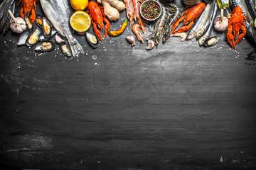 Fototapete - Fresh seafood.
