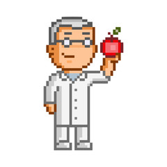 Vector 8-bit pixel art scientist