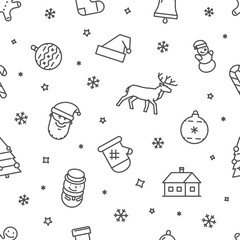 Line vector Christmas pattern