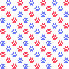 Paw prints in red and blue on white, a seamless background pattern