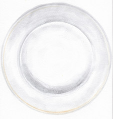 Plate isolated on white. Hand drawn watercolor illustration.