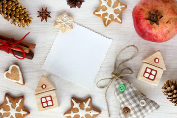 atmosphere of winter holidays/ flat layout of the festive Christmas items top view