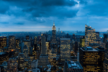 Night Empire State Building view and panorama from Top of The Rock, Rockefeller Center, New York City