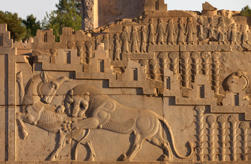 Embossed Bas Relief of Combat Between Lion and Bull Carved on Staircase of Persepolis in Shiraz