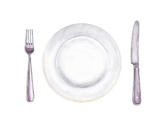 Set for meal. Fork, plate and knife isolated on white. Hand drawn watercolor illustration.
