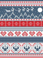 Scandinavian Printed Textile  style and inspired by  Norwegian Christmas, festive winter seamless pattern in cross stitch with Xmas trees, snowflakes, Reindeer,mountains, moon, Sleigh,  angels
