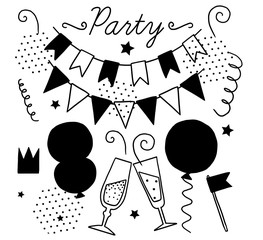 Set of vector black and white elements for party and Birthday