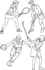 set of people doing different kinds of sports outline