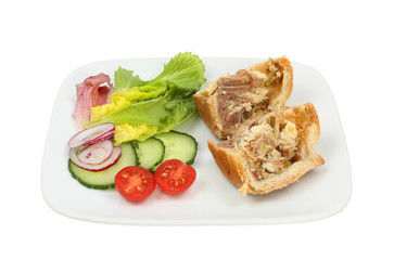Chicken and ham pie with salad