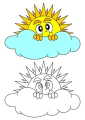 The sun peeks shyly behind a cloud - coloring book for young children - vector eps