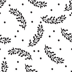 Black and white hand drawn abstract pattern