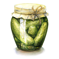 Homemade pickled, canned cucumbers in glass jar isolated, watercolor illustration