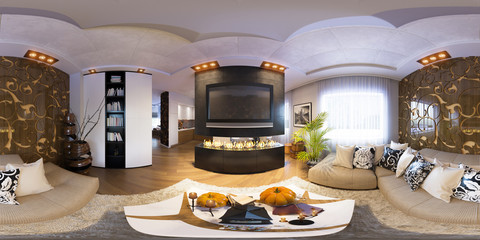 3d illustration spherical 360 degrees, seamless panorama of living room Halloween interior design. The living room with fireplace and decorated for Halloween