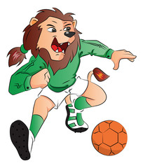 Vector of lion mascot playing soccer.