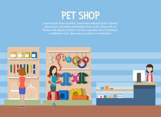Dog and cat pet shop or store interior