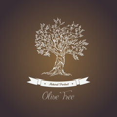 Greece olive tree logo with branches