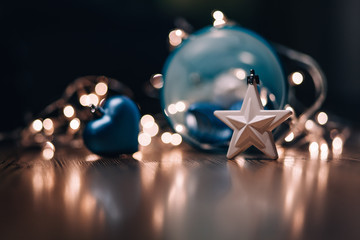 Christmas baubles, stars and fairy lights