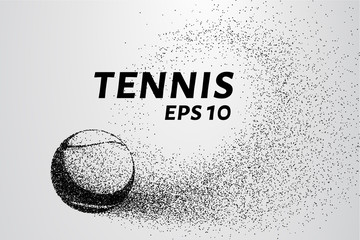 Tennis of particles. A tennis ball consists of circles and points. Vector illustration