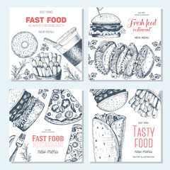 Fast food square banner set. Pizza, hamburger and french fries collection. Vector illustration, linear graphic drawn. Fast food menu design.