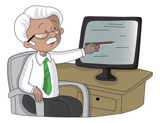 Vector of senior man pointing at monitor screen.