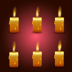 Vector candle with fire animation . Flame animated effect illustration