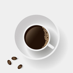 Realistic top view of coffee cup and coffee beans on white background