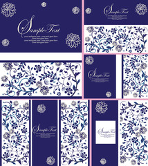 Set of five (5) vintage invitation card with ornate elegant retr