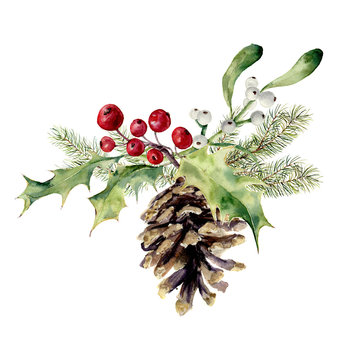 Watercolor fir cone with christmas decor. Pine cone with christmas tree branch, holly and mistletoe on white background. Party element for design, print