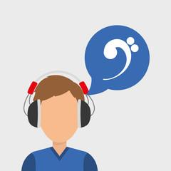 Musician listening melody icon vector illustration graphic design
