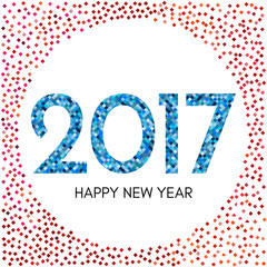 Happy New Year 2017 label with red and blue confetti. New Year and Xmas Design Element Template. Vector Illustration.