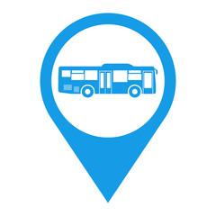 Icono plano localizacion autobus lateral azul