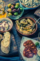 Tapas selection , food sharing