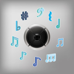 Speaker music sound icon vector illustration graphic design